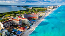 Aerial Of The Hotel Zone With The Turquoise Waters Of Cancun, Quintana Roo, Mexico