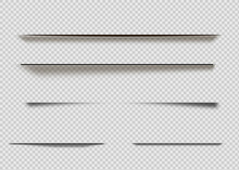 Vector Shadows Isolated. Page Divider With Transparent Shadows Isolated. Set Of Shadow Effects.