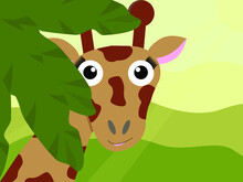 A Giraffe Peeks Out From Behind The Branches. Children's Vector Illustration
