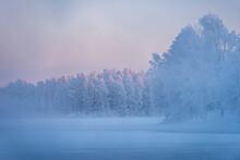 Morning Mist Over Frozen River, River Kitkajoki, Kuusamo, Finland
