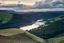 View Of Ladybower Reservoir From Whinstone Lee Tor, At Sunset, Peak District National Park, Derbyshire, England, United Kingdom
