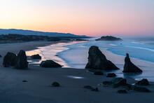 Bandon Beach At Dawn, Bandon, Coos County, Oregon, United States Of America