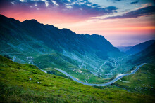 The Transfagarasean (DN7C), A Paved Mountain Road Crossing Fagaras Mountains In Central Romania, Cartisoara, Sibiu County, Romania