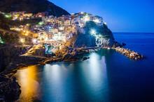 Picturesque Village Of Manarola In Cinque Terre, UNESCO World Heritage Site, Province Of La Spezia, Liguria Region, Italy