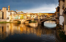 Ponte Vecchio Over The Arno River, In Florence, UNESCO World Heritage Site, Tuscany, Italy
