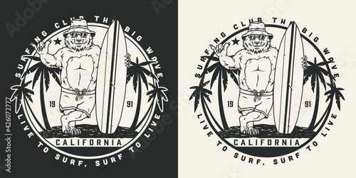 Fototapeta California surfing vintage round label obraz