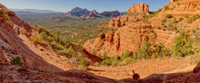 View From The Western Slope Of Steamboat Rock Looking North, Coconino National Forest, Sedona, Arizona, United States Of America