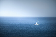 Lonely Sail Boat In The Sea, Antiparos Island, Cyclades, Greek Islands, Greece