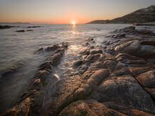 Sunset On The Sea And Rocks, Antiparos Island, Cyclades, Greek Islands, Greece