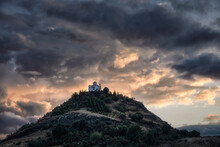 Cloudy Sunset On A Small Church On The Top Of A Hill, Thessaly, Greece
