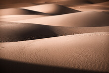 Sand Dunes Details Of Lights And Shadows In The Sahara Desert, Merzouga, Morocco, North Africa