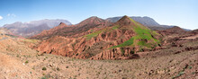 Panoramic Of Badland Rock Formation In Mountains In Morocco, North Africa