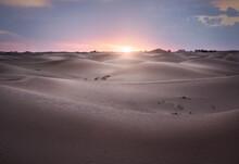 Sunset Over Sahara Desert Sand Dunes, Merzouga, Morocco, North Africa