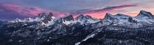 Panoramic At Sunset Of Dolomites Of Cortina D'Ampezzo Covered By Snow, Croda Da Lago, Pelmo, Five Towers (Cinque Torri), Trentino-Alto Adige, Italy