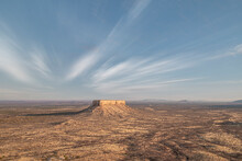 Desert Landscape Of Damaraland With A Lonely Rock In The Middle, Namibia