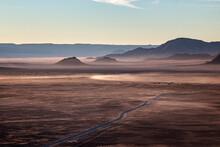 Rocky Desert At Sunrise Taken From A Hot Air Balloon Flight, Namibia