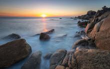 Sunset From The Rocky Coast In Couso, La Coruna, Galicia, Spain