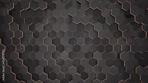 Canvastavla Dark small black hex grid background, abstract background