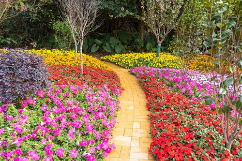 Fototapeta path leading through a flower garden