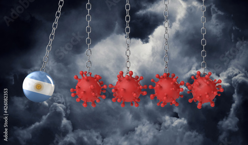 Obraz Argentina flag ball hits into a line of coronavirus molecules. 3D Rendering - fototapety do salonu