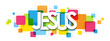 JESUS colorful vector typography banner isolated on white background