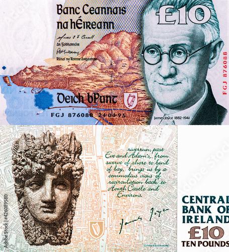 Fototapeta James Augustine Aloysius Joyce (2 February 1882 - 13 January 1941) was an Irish novelist and poet, Portrait from Ireland 10 Pound 1997 Banknotes