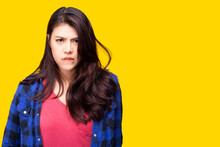 Moody Young Asian Woman Get Bored, Upset Isolated On Yellow Background Copy Space Pretty Girl Gesturing On Face Like A Bad Mood, Unhappy, Touchy, Bored She Get Frustrated, Feel Annoyed Expression Face