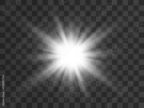 Bright beautiful star.Vector illustration of a light effect on a transparent background.