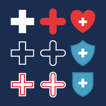 Set Of Plus Or Medical Cross Icons, Heart With Cross, Shields With Cross. Flat Pharmacy Design. Medical, Healthcare Icons, Isolated On Dark Blue Background. Vector Color Illustration.