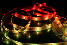 Led Strip In Operation Generates Suggestive Luminous And Colored Effects