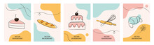 Set Of Wallpaper For Social Media Stories, Cards, Flyers, Posters, Banners And Other Promotion. Bakery Design Elements, Logos, Badges, Icons And Objects.