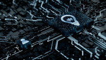 Innovation Technology Concept With Lightbulb Symbol On A Microchip. White Neon Data Flows Between The CPU And The User Across A Futuristic Motherboard. 3D Render.