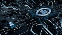 Vision Technology Concept With Eye Symbol On A Microchip. White Neon Data Flows Between The CPU And The User Across A Futuristic Motherboard. 3D Render.
