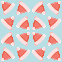 Little Santas Hat Seamless Vector Pattern. Aqua, Red And Pink Christmas Illustration Background.