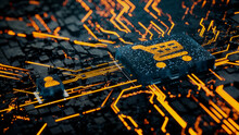 Ecommerce Technology Concept With Shopping Symbol On A Microchip. Orange Neon Data Flows Between The CPU And The User Across A Futuristic Motherboard. 3D Render.