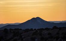 United States, New Mexico, Lamy, Galisteo Basin Preserve, Sunset Sky Over Galisteo Basin Preserve Landscape
