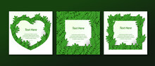 Leaves Frame Templates For Card, Text Or Social Media Post. Paper Cutout Style.