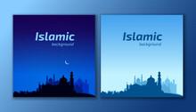 Ramadan Kareem Islamic Background. Mosques In The Night And Day.