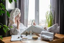 Wellness. Self-care. Girl Doing Gausha Massage, Face Mask, Relaxing Procedures At Home. Home Cosmetologist, Quarantine. Mental Health, Anti-stress.Home Spa,digital Detox,wellness Home