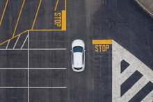 Aerial View Of Car In Parking Lot