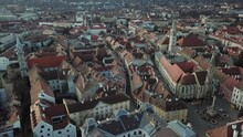 Cinematic Aerial Drone Shot Of The Charming Quaint Historical Inner City, Downtown Of Sopron, A Major Tourist Destination In Győr-Moson-Sopron County, Western Transdanubia In Northwestern Hungary