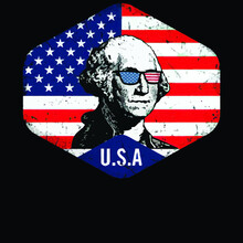 George Washington American Flag Patriotic July Vintage Sport Illustrator Vector Poster Design