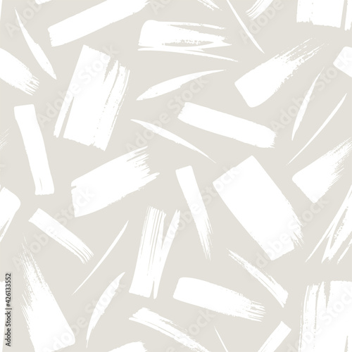 Canvas Print Abstract seamless pattern with white hand drawn brushstrokes isolated on gray background