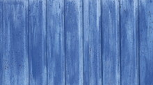 Blue Background Of Textured Solid Material Painted Blue And Aged From Time, Empty Blue Backdrop With Lines Of Planks, Full Frame Of A Fragment Of A Rustic Metal Or Wooden Fence