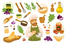 Set Of Ingredients, Spices, Seasonings, Herbs For Making Homemade Sauces. Simple Icons For Recipe. Onion, Garlic, Tomato, Parmesan, Basil, Olive Oil, Cream, Pine Nuts. Hand-drawn Vector Illustrations.