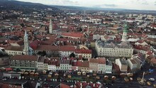 Cinematic Aerial Drone Footage Of The Famous Medieval Fire Tower And Charming Quaint Historical Inner City, Downtown Of Sopron, A Major Tourist Destination In Győr-Moson-Sopron County