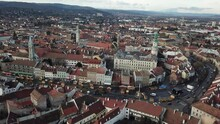 Cinematic Aerial Drone Footage Of The Charming Quaint Historical Inner City, Downtown Of Sopron, A Major Tourist Destination In Győr-Moson-Sopron County, Western Transdanubia In Northwestern Hungary