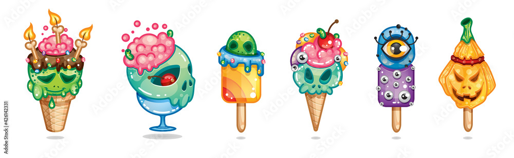 Fototapeta Halloween deser, Strasznie słodkie lody i desery  zestaw 3