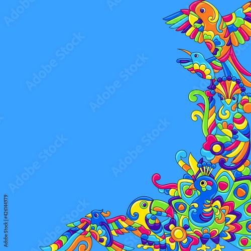 Fototapeta premium Decorative background with tropical birds. Mexican ceramic cute naive art.
