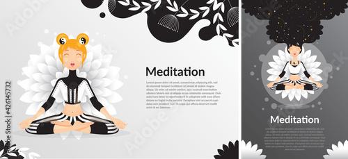 Fototapeta Szczęśliwa kobieta medytująca w pozycji lotosu w czarnym stroju na tle kwiatu. Projekt na zdrowy styl życia. z jogą. Ilustracja wektorowa. obraz